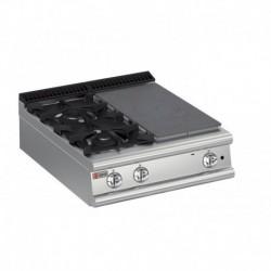 Plaque de cuisson top 2 feux vifs gaz avec une demie plaque coup de feu Gamme 700 Baron 70TPMG801SX