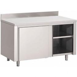 Table armoire inox avec portes coulissantes et dosseret Gastro M 1400 x 700 x 850mm GN158