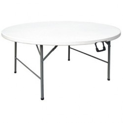 Table ronde pliable au centre Bolero blanche 1530mm CC506