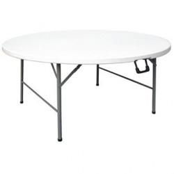 Table ronde pliable au centre Bolero blanche 1530mm CC506