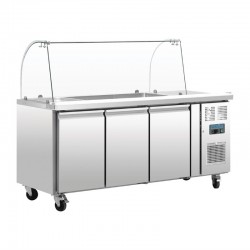Comptoir de préparation réfrigéré GN avec pare-haleine Polar 3 portes CT394