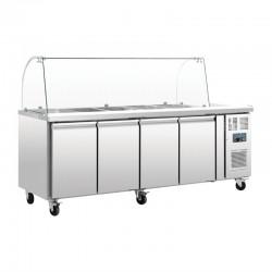 Comptoir de préparation réfrigéré GN avec pare-haleine Polar 4 portes CT395