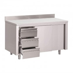 Table placard inox avec dosseret 3 tiroirs à gauche et portes coulissantes Gastro M 850x1600x700mm