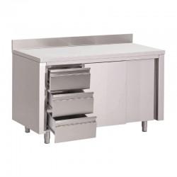 Table placard inox avec dosseret 3 tiroirs à gauche et portes coulissantes Gastro M 850x2000x700mm