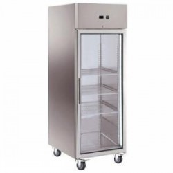 Armoire réfrigérée inox porte vitrée 650L